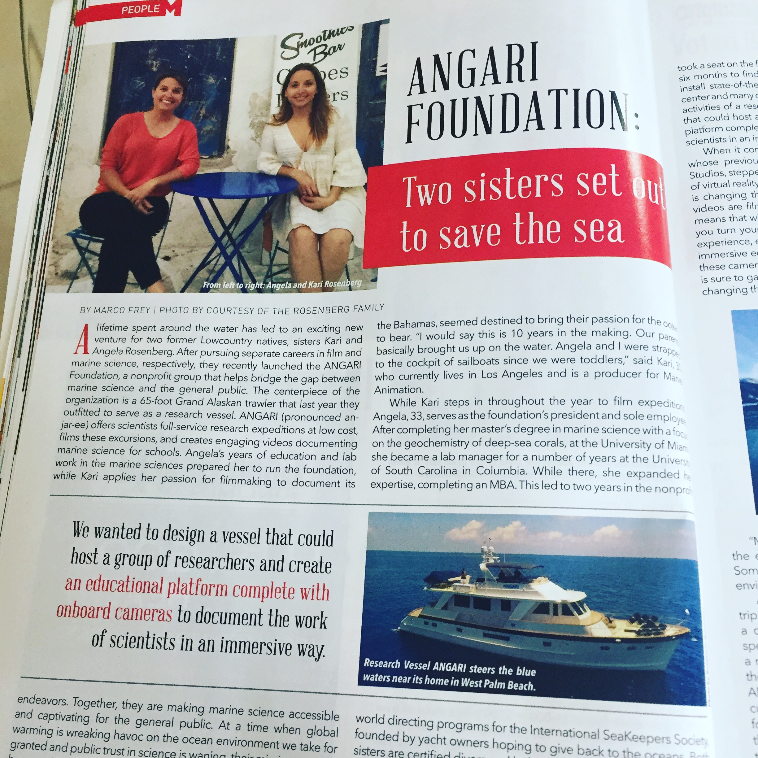 ANGARI Foundation Featured In Hilton Head Monthly Magazine