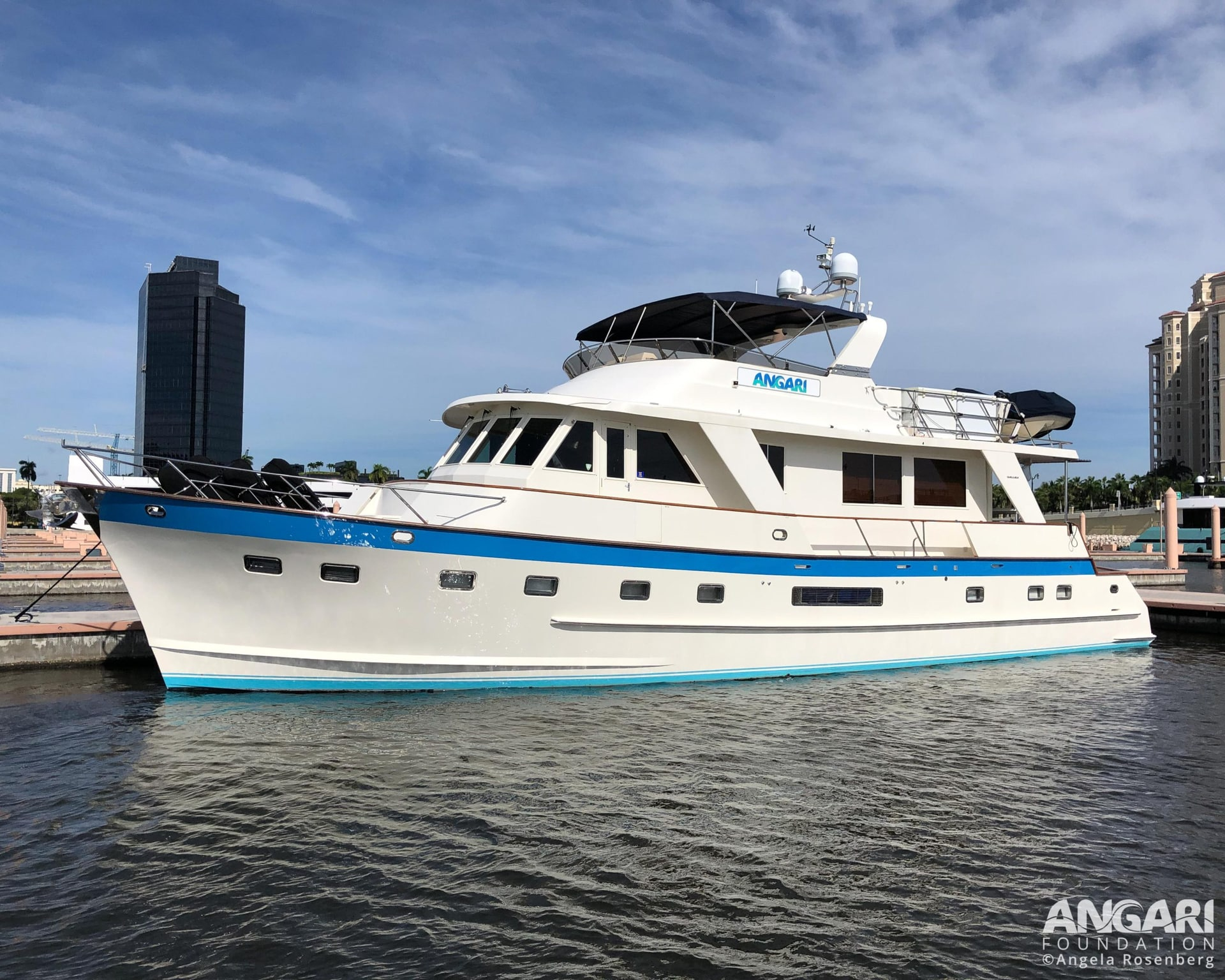 R/V ANGARI conducts ocean science research in the Atlantic, Caribbean, Gulf of Mexico and Florida Keys. Photo taken at home port in West Palm Beach, Florida.